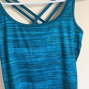 Champion Tops - Champion Striped Criss Cross Athletic Workout Tank